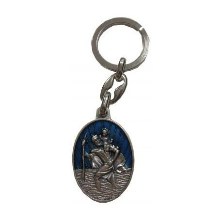 Porte-clés ovale bleu Saint Christophe