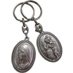 Porte-clés ovale Vierge Marie Saint Christophe