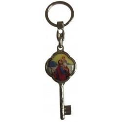 Porte-clés argenté résine clé Saint Christophe NDL
