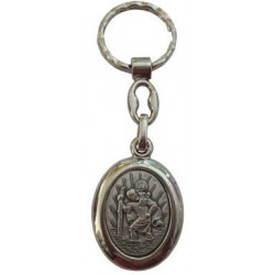 Porte-clés ovale argenté Saint christophe