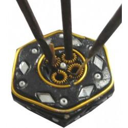 Porte encens noir hexagonal