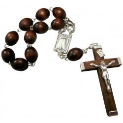 Dizainier NDLourdes bois marron croix sertie