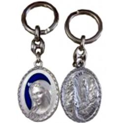 Porte-clés ovale métal argente bleu NDL