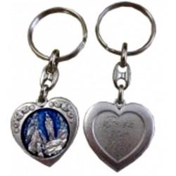 Porte-clés coeur métal argenté bleu NDL