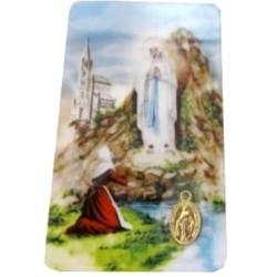 Carte NDL Sainte Bernadette avec médaille