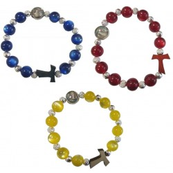 Bracelet bleu croix médaille NDLourdes
