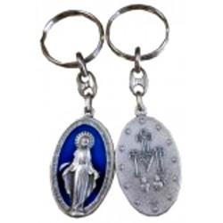 Porte-clés métal argenté Vierge Miraculeuse