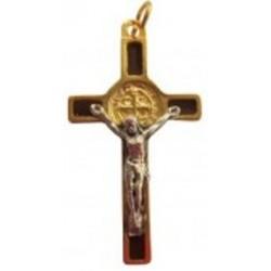 Croix de Saint Benoît doré marron