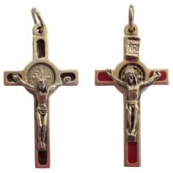 Croix de Saint Benoît argenté rouge