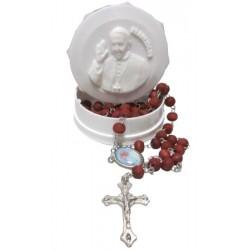 Chapelet Pape François boite ronde blanche