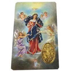 Carte prière Marie qui défait les noeuds avec médaille