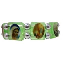 Bracelet vert plastique Multisaints