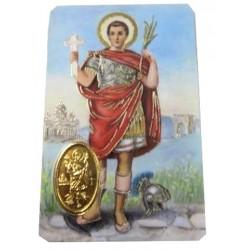 Carte prière Saint Expédit avec médaille