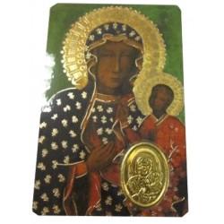 Carte prière Vierge Noire avec médaille