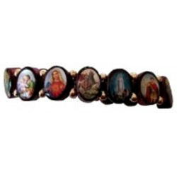 Bracelet bois ovale multisaints