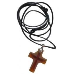 Croix ambre + cordon