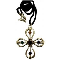 Croix fantaisie métal doré