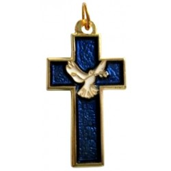 Croix pendentif doré bleu colombe