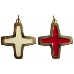 Croix pendentif doré rouge ou blanc
