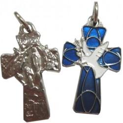 Croix métal bleu colombe