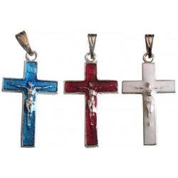 Croix métal argenté rouge / bleu / blanc
