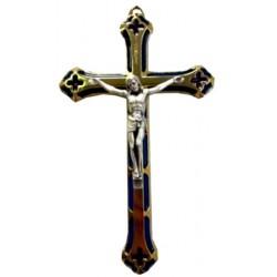 Croix métal doré bleue
