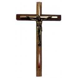 Croix bois métal doré