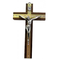 Croix bois métal doré argentée