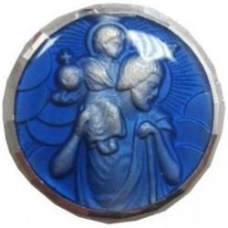 Magnet rond bleu Saint Christophe