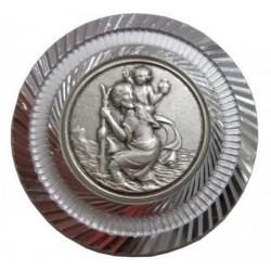 Magnet rond argenté Saint Christophe