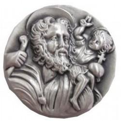 Magnet rond argent Saint Christophe