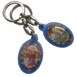 Porte-clés ovale bleu couleurs SCH NDL