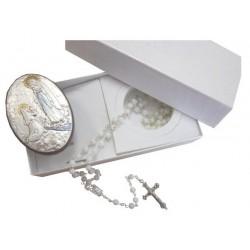 Coffret chapelet nacre cadre Notre Dame de Lourdes