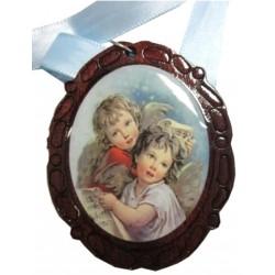 Médaillon ovale de berceau 2 anges