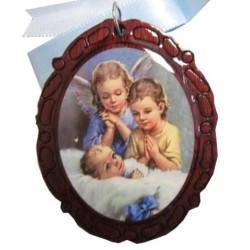 Médaillon de berceau ovale 1 ange et l'enfant