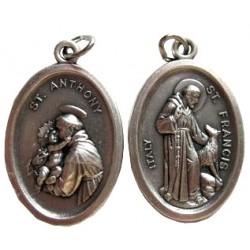 Médaille ovale Saint Antoine de Padoue Saint François D'assise