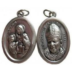 Médaille ovale Sainte Anne Jean Paul II