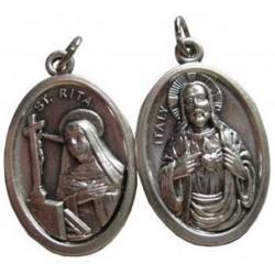 Médaille ovale Sainte Rita Sacré Coeur de Jésus