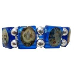 Bracelet bleu plastique Multisaints