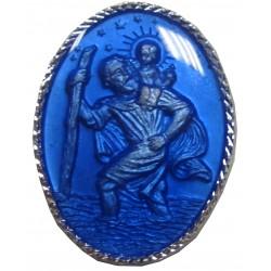 Magnet ovale bleu ST Chistophe