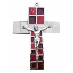 Crucifix métal argenté et rouge