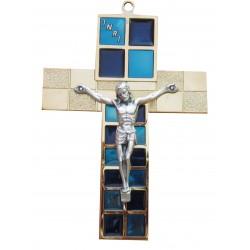 Crucifix  métal doré et bleu