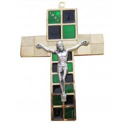 Crucifix métal doré et vert
