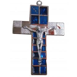 Crucifix métal argenté et bleu