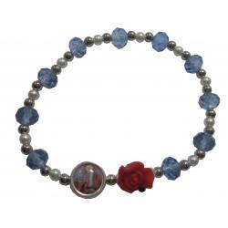 Bracelet bleu clair rose rouge médaille Notre Dame de Lourdes