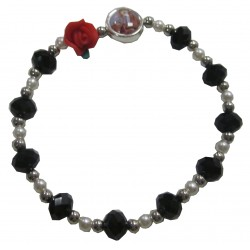 Bracelet noir  rose rouge Notre Dame Lourdes