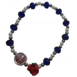 Bracelet bleu roi rose rouge Notre Dames de Lourdes