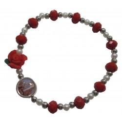 Bracelet rouge rose Notre Dame de Lourdes