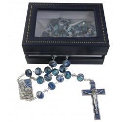 Chapelet bleu N D de Lourdes Crystal Swarovski