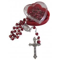 Chapelet coeur rouge